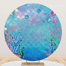 Laeacco Mermaid Fish Birthday Party Coral Shell Customized Round Circle Backgrounds Photographic Backdrop Photocall Photo Studio