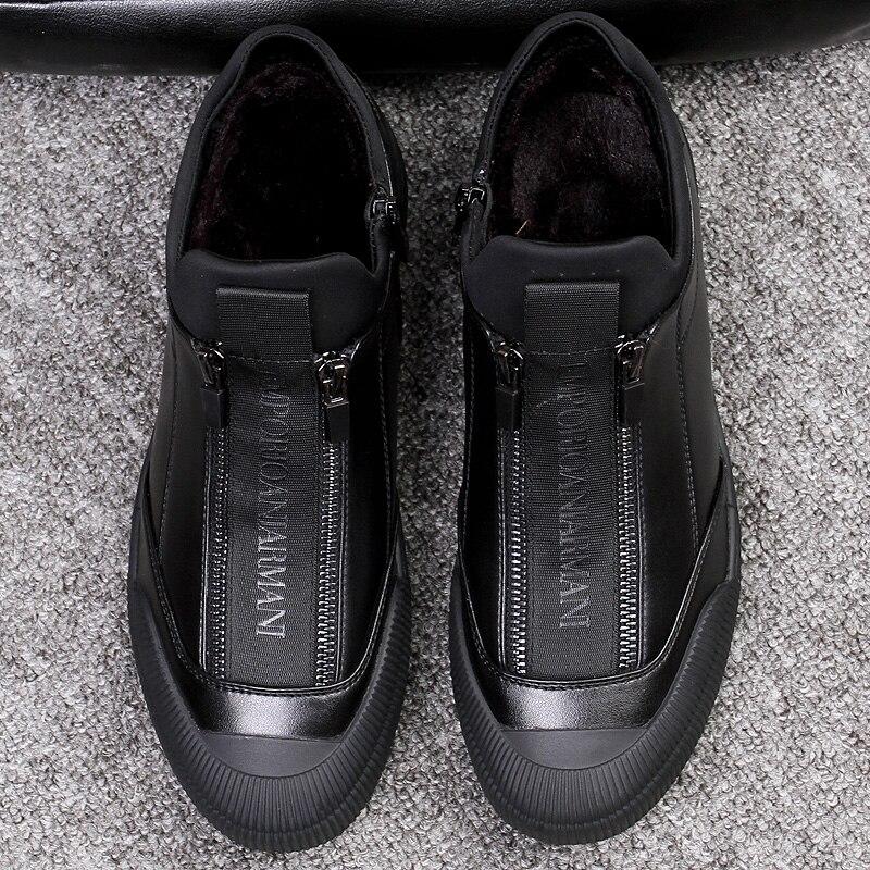 Hiver fourrure cuir baskets hommes de luxe chaussures hommes concepteur noir chaussure 2018 hommes mode chaussure fermeture éclair chaussures sans lacet espadrilles décontractées