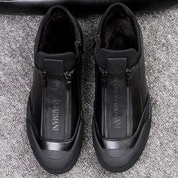 Zapatillas de cuero de piel de invierno para hombre calzado de lujo para hombre zapatos negros de diseñador 2018 zapatos de moda para hombres zapatos con cremallera planos deslizantes zapatillas Casuales