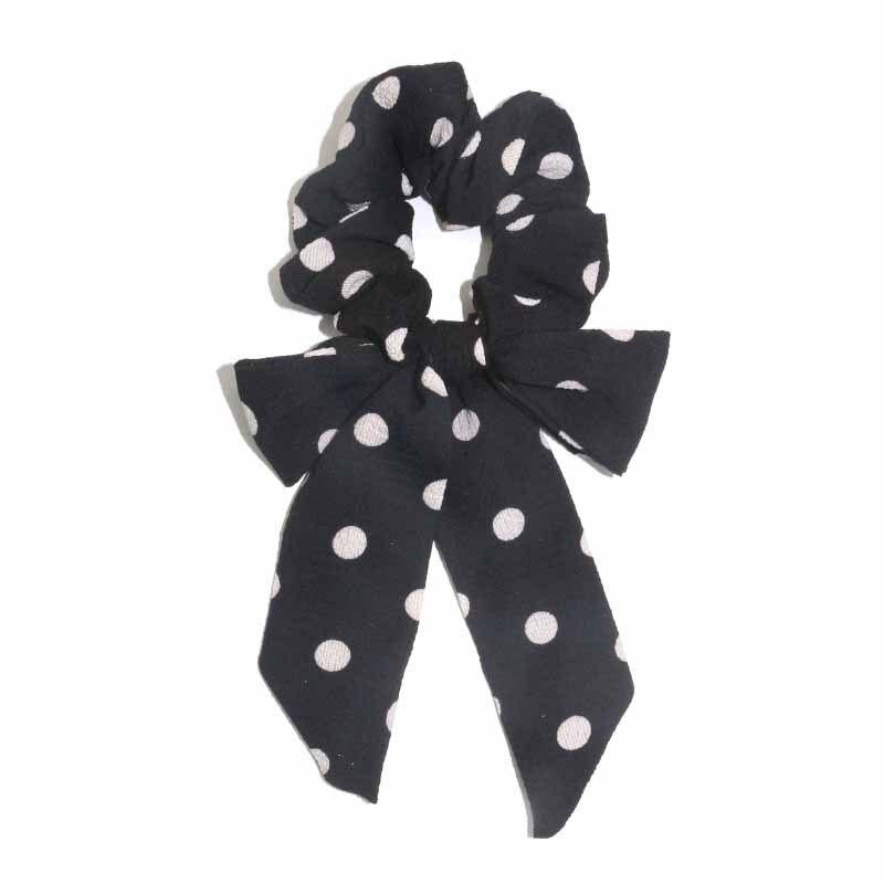 Femmes banderoles chouchous à pois imprimé Floral élastique noeud cheveux corde fille cheveux cravates coréen doux cheveux accessoires chapeaux 11