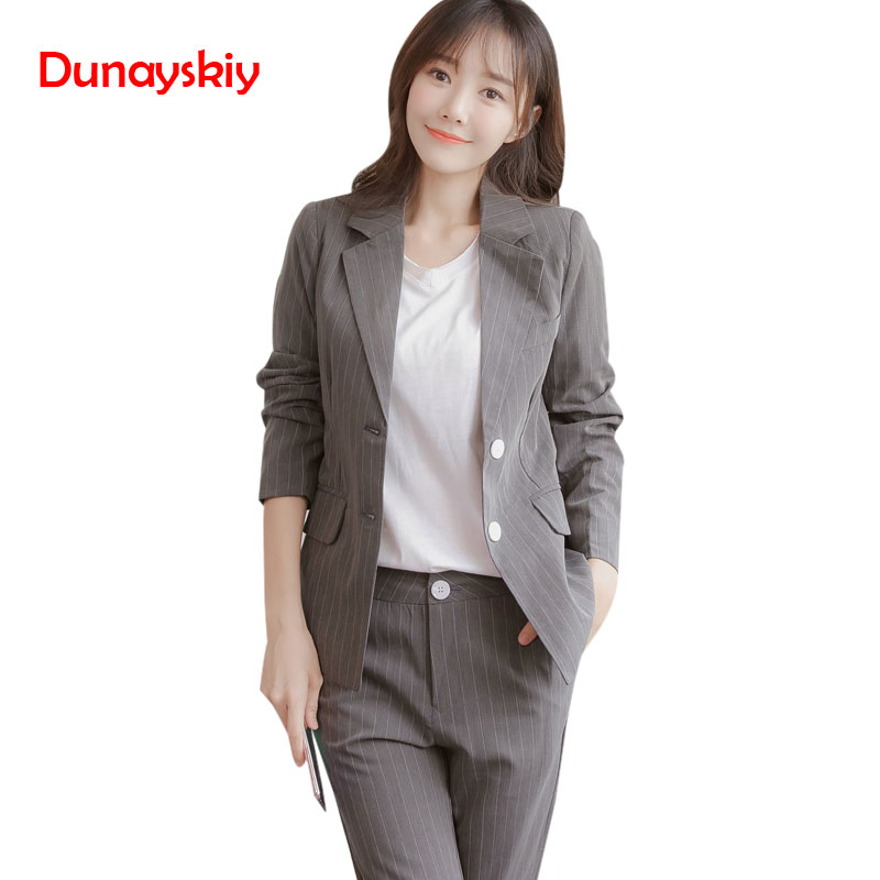 Women Striped Pant Suits 2020 Spring New Office Lady Work Professional Suit + Nine Pants Two Sets Women Single Button Decor