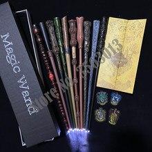 Luz harri varinha mágica dumbledore ron voldmort hermione moody varinha mágica mapa de potte marauder e 4 etiquetas de pano presente com caixa