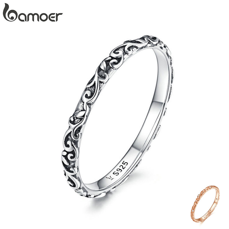 BAMOER Engraved Pattern Ring Real 925 Sterling Silver Black Tibetan Silver Small Finger Rings Unisex Fine Jewelry SCR513