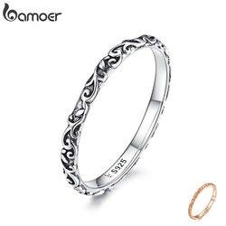 BAMOER kazınmış desen yüzük gerçek 925 ayar gümüş siyah tibet gümüş küçük parmak yüzük Unisex güzel takı SCR513