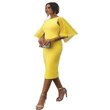 2019 Summer Fashion Women Yellow Elegant Dress Party Sheath Casual Dress Spring Solid Backless Flare Sleeve Bodycon Dress цена
