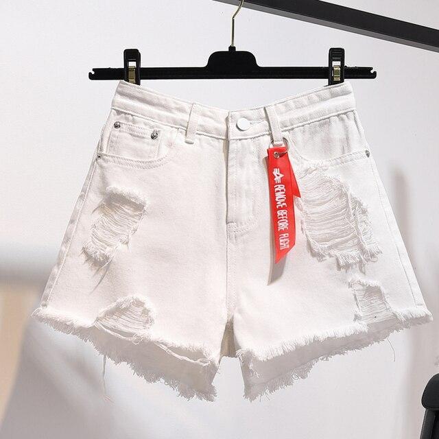 High waist denim shorts female summer 2021 new Fashion Korean style loose Button Jeans women's Leisure Hole Wide leg Hot Shorts 3
