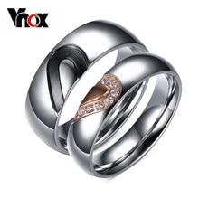 Vnox-Anillo de corazón de amor, aniversario, compromiso, boda, titanio, joyería de acero, 1 par
