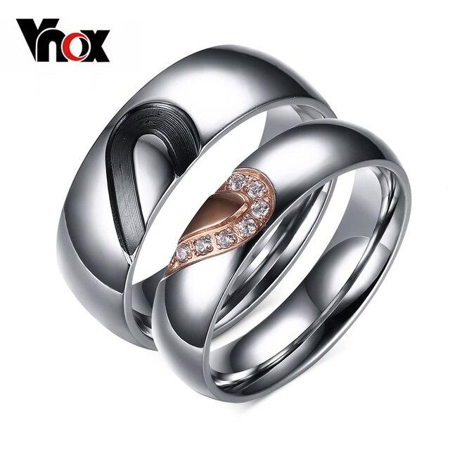 Vnox Love Heart Ring Anniversary Engagement Wedding Titanium Steel Jewelry 1 Pair