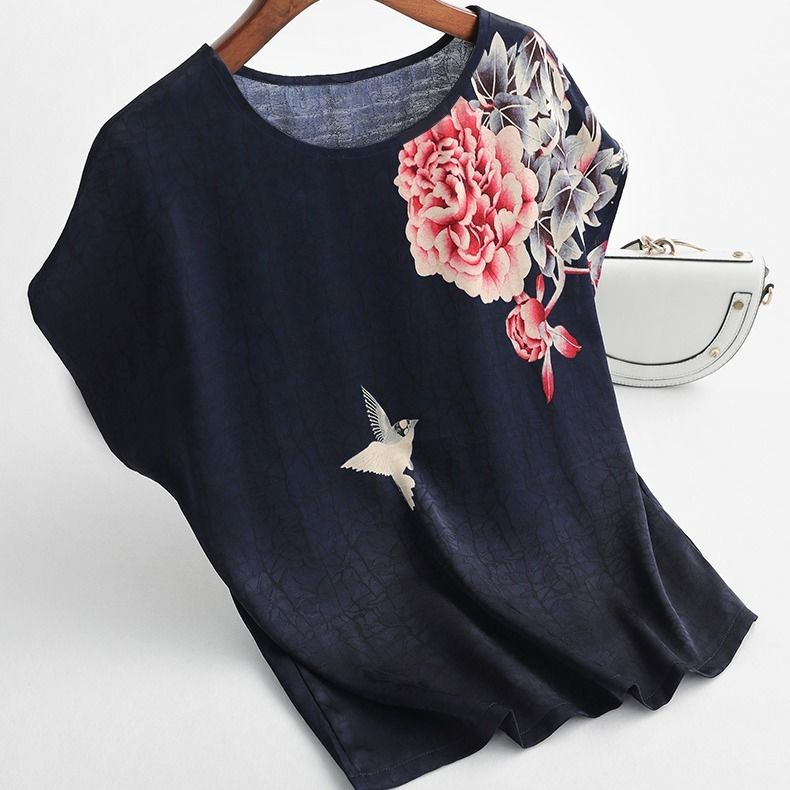 H39fc45a0188c4b68bb2ec0680decf8d8Z - Women Silk Satin Blouses Plus size Batwing sleeve Vintage Print Floral Blouse Ladies Casual Short sleeve Tops