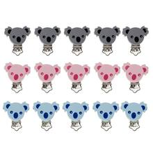 5pcs Lovely Wooden Pacifier Clip Animal koala Baby Pacifier Clips Dummy Clips DIY Pacifier Chain Accessory(China)