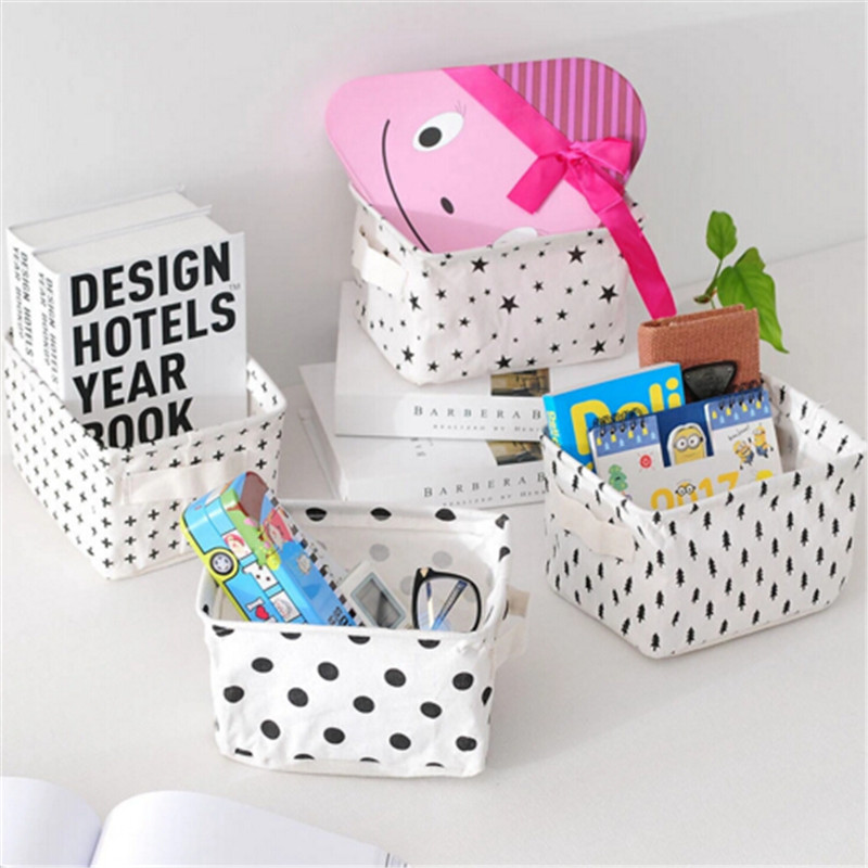 Desktop Cosmetics Organizer Cotton Linen Storage Baskets Home Laundry Basket Folding Storage Basket Children Toy Container