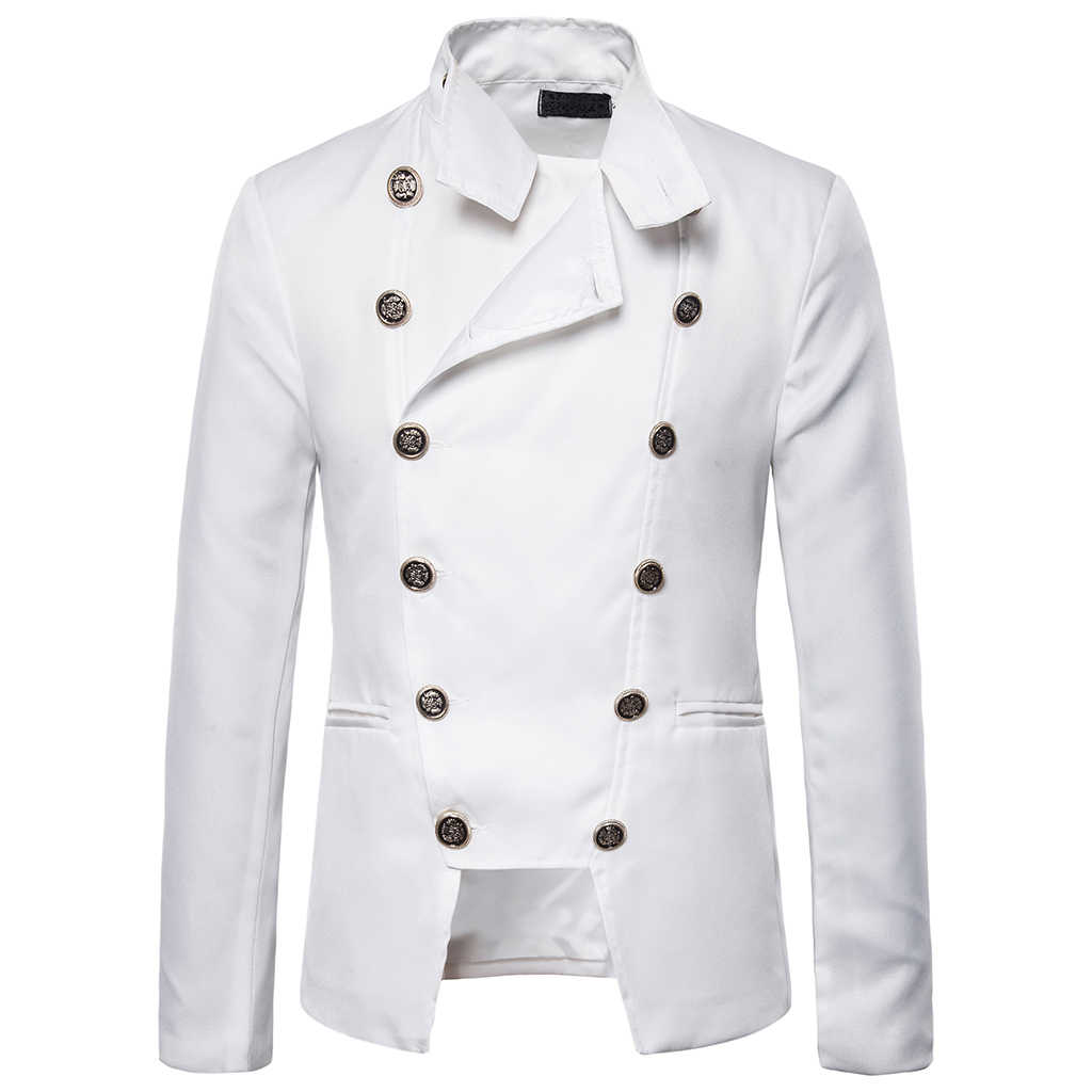 Cysincosヴィンテージ男性ブレザーレトロなスチームパンクゴシックスーツジャケットダブルブレストドレスブレザー結婚式ステージパフォーマンス衣装
