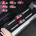 4 шт Кожаный Автомобильный Брелок с порога кожи наклейки для Audi A4 A6 A5 Q5 A3 Q3 Q7 порог машины на автомобильное стекло, углеродное волокно styleing ст...