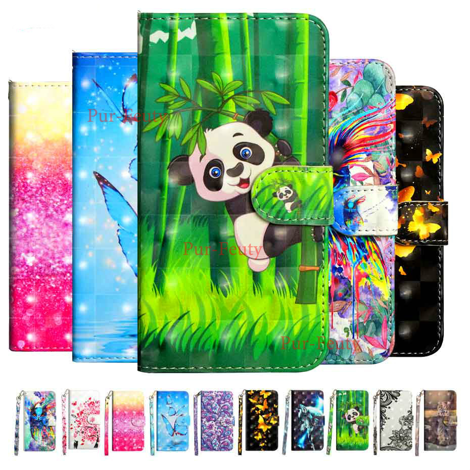 Cartoon painting phone cover For A9 2020 Cover 3D Luxury Flip <font><b>Wallet</b></font> <font><b>Case</b></font> For <font><b>Oppo</b></font> <font><b>A5</b></font> (2020) Book Flip Style Mobile Phone <font><b>Cases</b></font> image