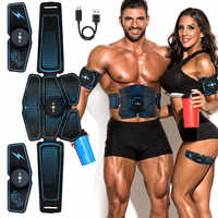 Vibration Abdominal Muscle Stimulator Trainer Rechargable EMS Electric Muscle Exerciser Machine Home Gym Belly Arm Leg Massage