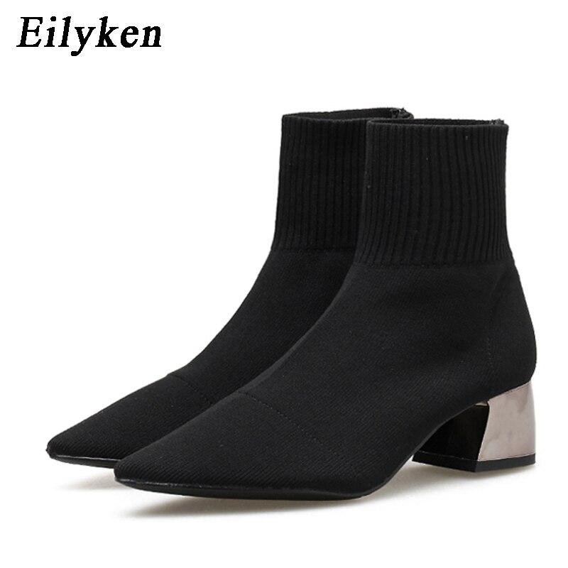 EilyKen/Коллекция 2020 года; сезон осень-зима; вязаные носки из эластичной ткани; женские ботинки; короткие ботинки на низком каблуке; цвет серый; ...