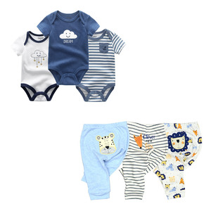 Image 5 - cute Bodysuits+Pants Baby Boy Girl Clothing Sets 0 12M Baby Boy Girl Clothes Unisex Newborn Baby Cotton Roupa de bebe