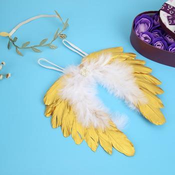 Recién Nacido niñas y niño alas de plumas de Ángel + hojas de patrón diadema de pelo conjunto de ropa de bebé accesorios de fotografía bebé