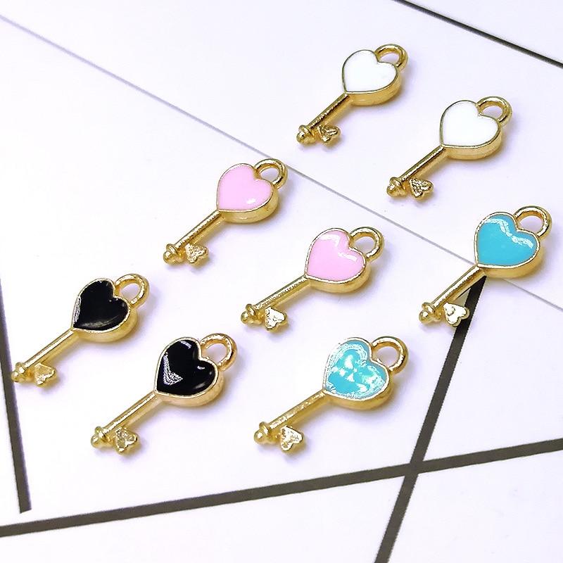 20pcs/lot  7*16mm Heart Shape Key Enamel Pendant Carousel Charms for DIY Bracelet Necklace Floating Charms For Living Lockets