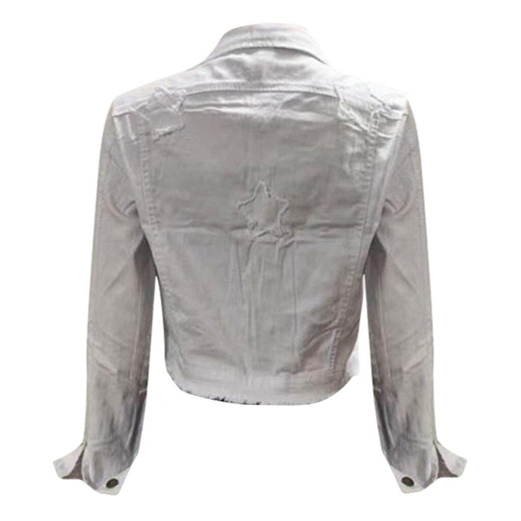 H39fcbde60e764cd0875d5b57830e50dcE 2019 Autumn And Winter Women Denim Jacket Vintage Cropped Short Denim Coat Long-sleeve Slim Jeans Coat For Women#J30