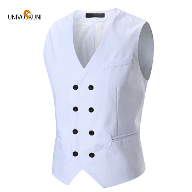 UNIVOS KUNI 2019 Brand Clothing  Spring And Summer New Fashion Double-breasted Men's Suit Vest Solid Color Men Vest WYR26