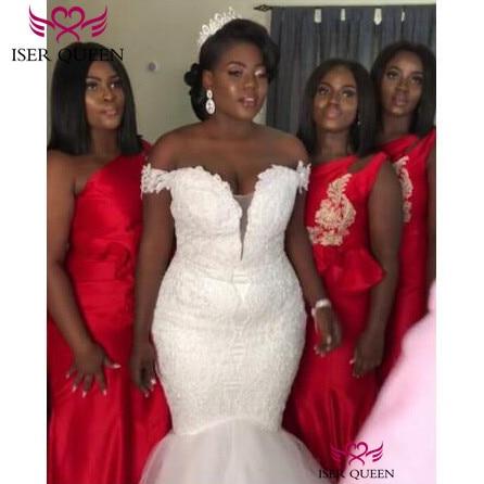 Cap Sleeves V-neck Embroidery Mermaid Wedding Dresses Lace Up Africa Fashion  Vestido De Novia Plus Size Pure White W0609