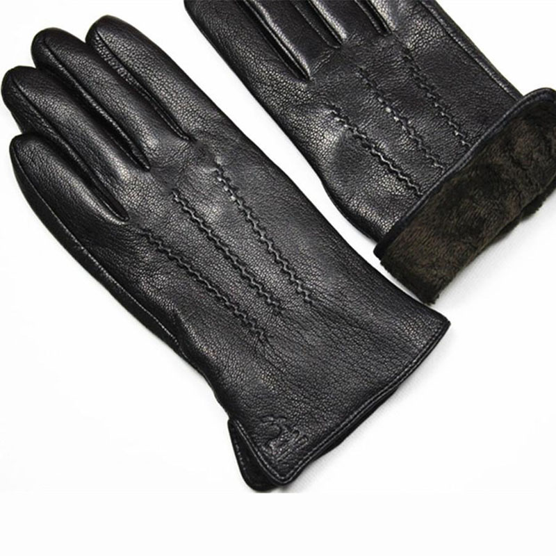 Image 5 - Guantes Winter Gloves Men's Leather Gloves Deerskin Thickened Water Wave Style Fake Lining Autumn And Winter Warm Free Shipping-in Men's Gloves from Apparel Accessories on AliExpress