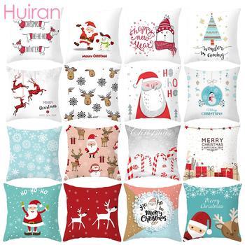 Huiran Feliz Navidad funda de cojín decoraciones para el hogar Navidad 2019 Noel adornos de Navidad regalos Cristmas Feliz Año Nuevo 2020