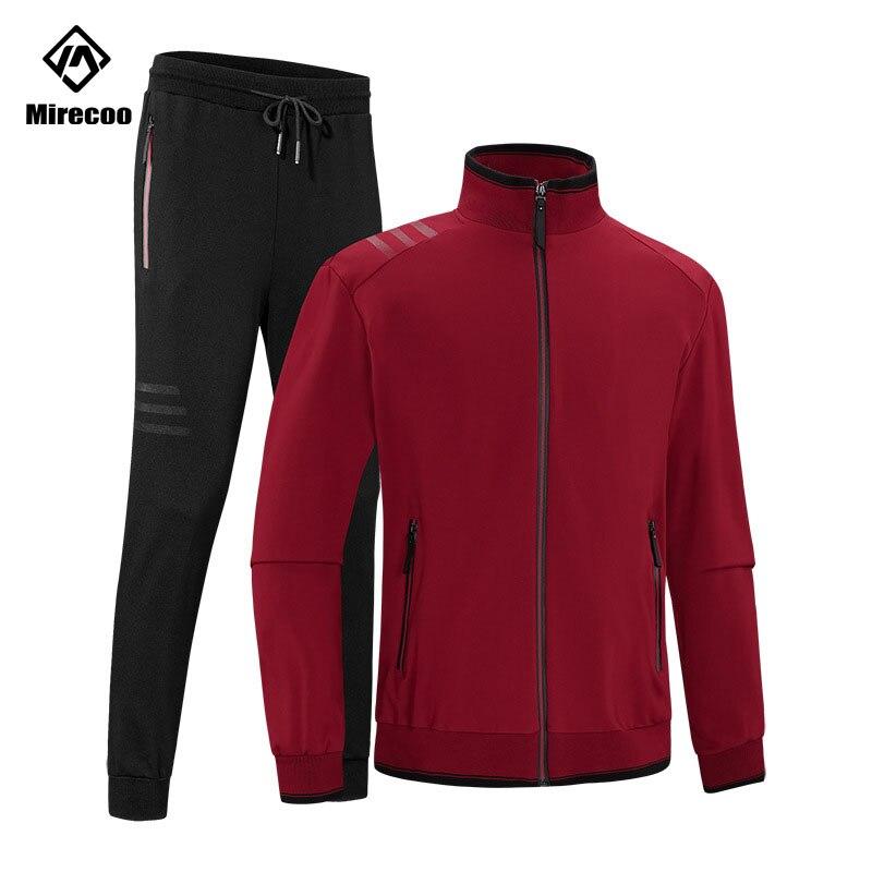 Mirecoo Running Suit Men Winter Solid Color Track Suit Men Casual Fashion Jogging Mens Elasticity Plus Size Autumn Jacket+Pants