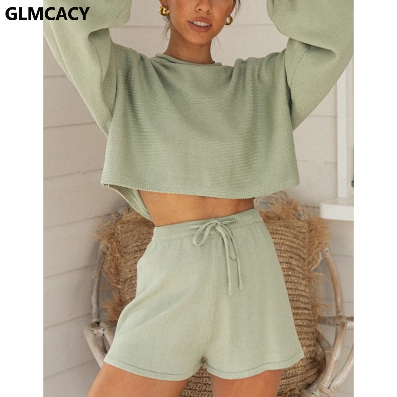 Women Chic Suits Two Piece Loungewear Set Long Sleeve Tops And Shorts Set Casual Streetwear