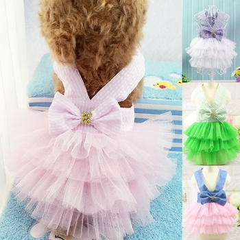 Cute Puppy Girl Princess Tutu Dress Pet Dog Skirt Large Small Dog Clothes Outfits Harness Dress image