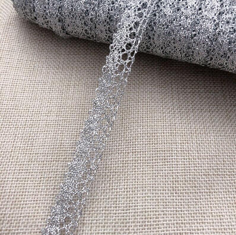 5 metros vitoriano antigo metal ouro prata crocheted laço guarnição fita para roupas diy acessórios de costura 1.5cm