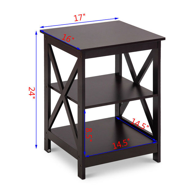Costway 2PC 3-Tier Nightstand End Table  2