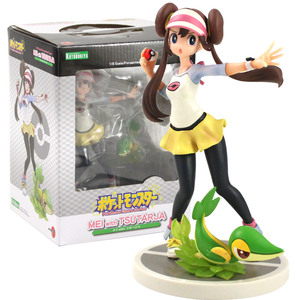 Image 2 - 20cm Anime Trainer Action Figure Gary Oak Lyra Selene Touko Mei Eevee Chikorita Rowlet Tepig Snivy ARTFX Model Toy Gift for Kid