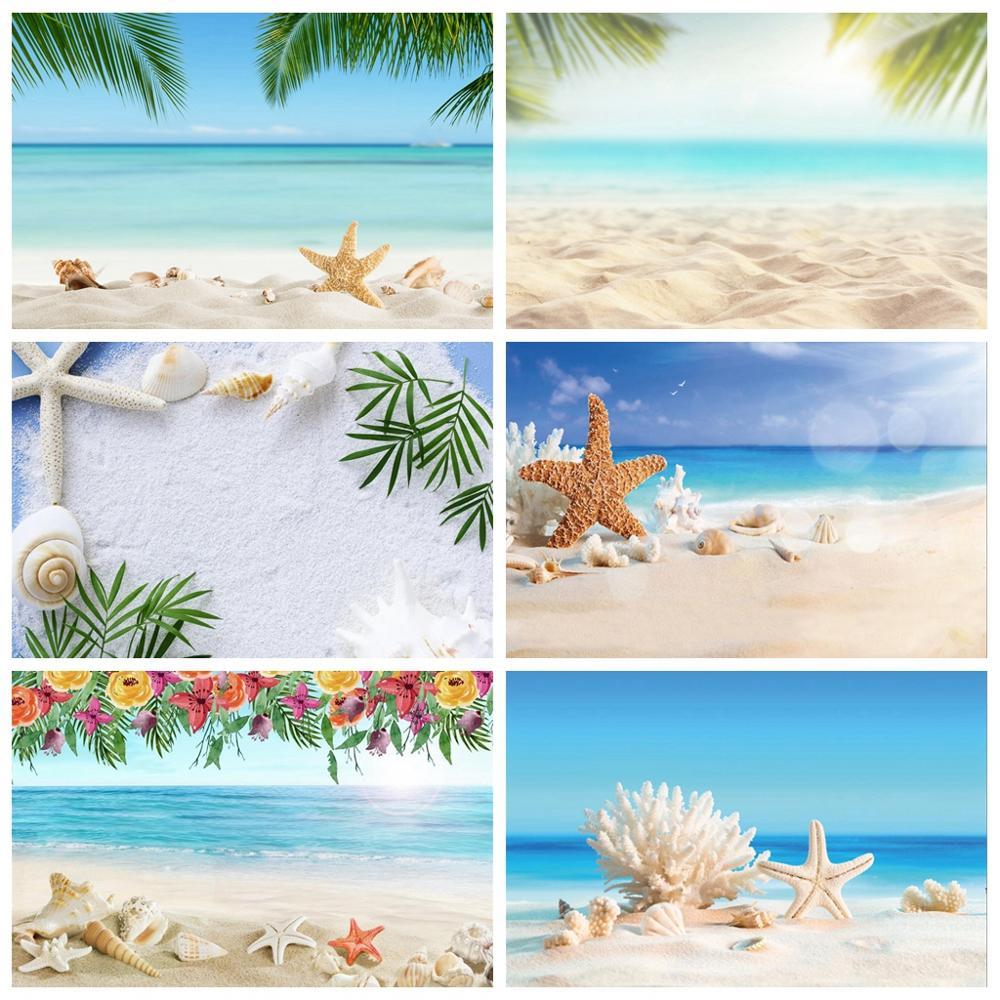 Летний тропический морской пляж песок Морская звезда ракушки коралловые пальмы дерево детский праздничный фон для фотосъемки фон для фото...