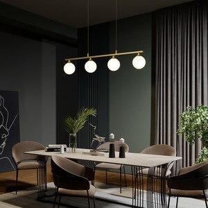 Image 2 - 북유럽 식당 모든 구리 LED 샹들리에 현대 유리 공 거실 매달려 램프 침실 조명기구 연구 조명