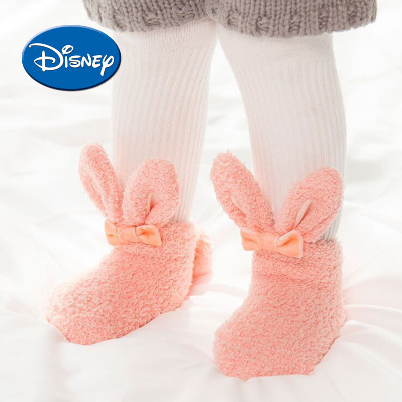 DISNEY Fleec Baby Foot Socks Non-slip Silica Gel Socks Newborn Soft Cotton First Walkers Todler Shoes
