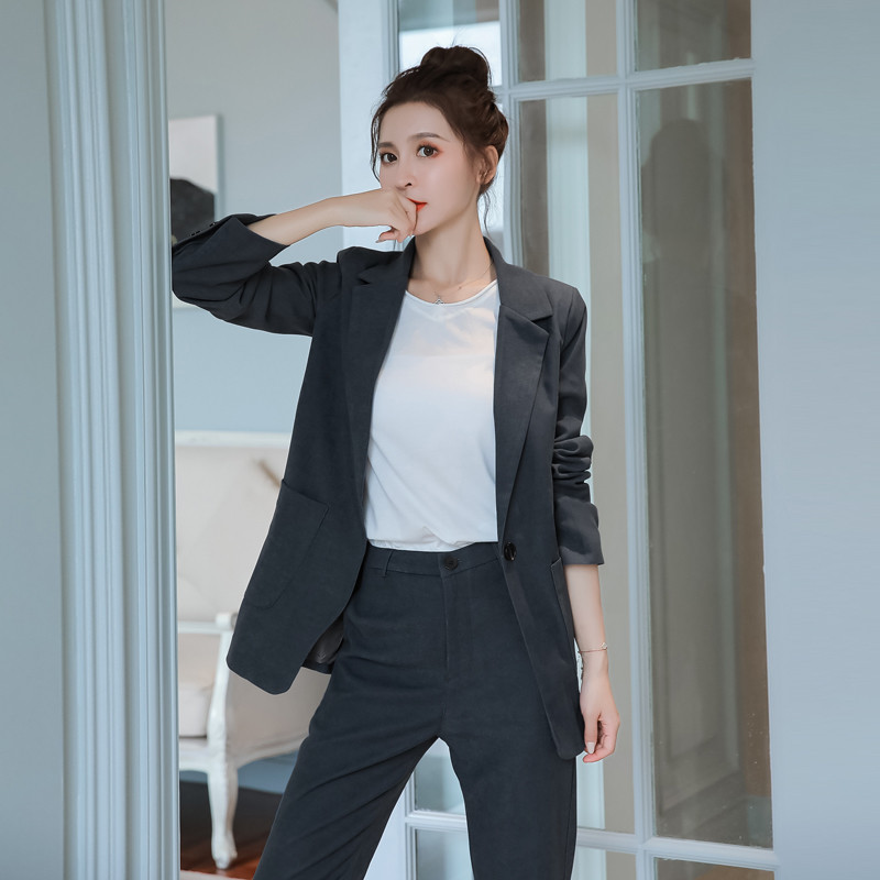 2020 Spring New Women Office Lady Loose Thick Suits Notched Full Sleeve Blazer And Long Pant Fashion Two Pieces Set Clothes D856