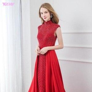 Image 4 - אופנה אדום גבוהה צווארון סאטן חרוזים שמלת ערב 2019 ארוך בת ים פורמליות ערב שמלות כובע שרוול YQLNNE