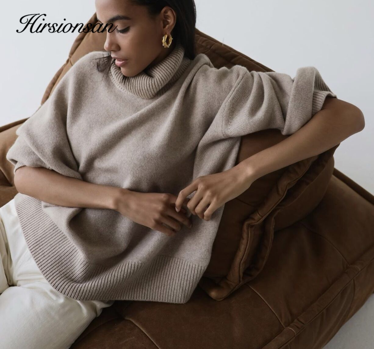 Hirsionsan turtle Neck Solid Cashmere Sweater Women Elegant Soft Warm Female Knitted Pullovers Basic Loose female Jumper
