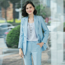 Sky Blue White Pink Red female Elegant Women's Pants Suits Sets