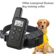 Cão colar de treinamento pet choque recarregável à prova dwaterproof água vibração som anti casca 500m controle remoto para o cão de tamanho múltiplo 40% de desconto