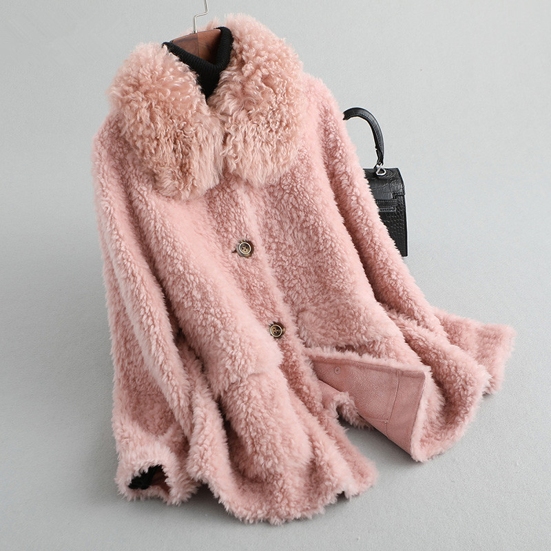 Coat Fur Real Female Wool Fur Collar Sheep Shearling Fur Jackets 2020 Winter Jacket Women Korean 100% Wool Coats MY3826 S