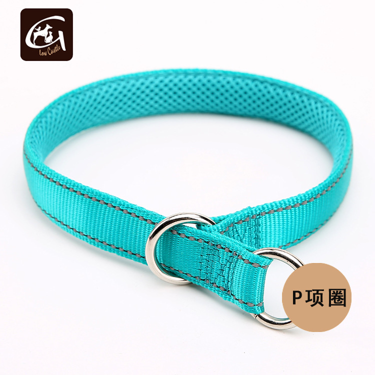 Guangzhou Pet Nylon Reflective Yarn Polyester Neck Ring P Pendant Neck Ring Medium-sized Dog Training Neck Ring P Neck Ring