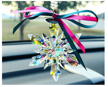 5pcs 80*220mm Diy k9 Crystal Beautiful Snowflake Hanging Ornament AB Color Crystal Garden Suncatcher Christmas Tree Decoration