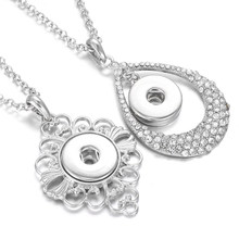 New Snap Jewelry Necklaces Vintage Metal Crystal Rhinestone Flower 18mm Snap Button Necklace for Women Snaps Pendant Necklace(China)
