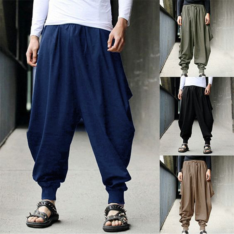 Adult Men Japanese Style Harem Pants Hip Hop Streetwear Larp Capris Loose Trouser Bottoms Viking Pirate Medieval Cosplay Costume