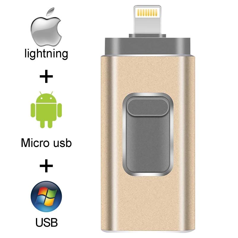 Pendrive 128 ГБ 3 в 1 iPhone USB флэш-накопитель OTG 32 Гб Pendrive 3,0 Cle Usb флэш-накопитель 64 ГБ для iPhone /Android/планшетный ПК