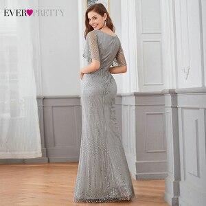 Image 2 - Sparkle Mermaid Evening Dresses Long Ever Pretty Sequined V Neck Short Sleeve Elegant Formal Party Gowns Vestidos Largos Fiesta