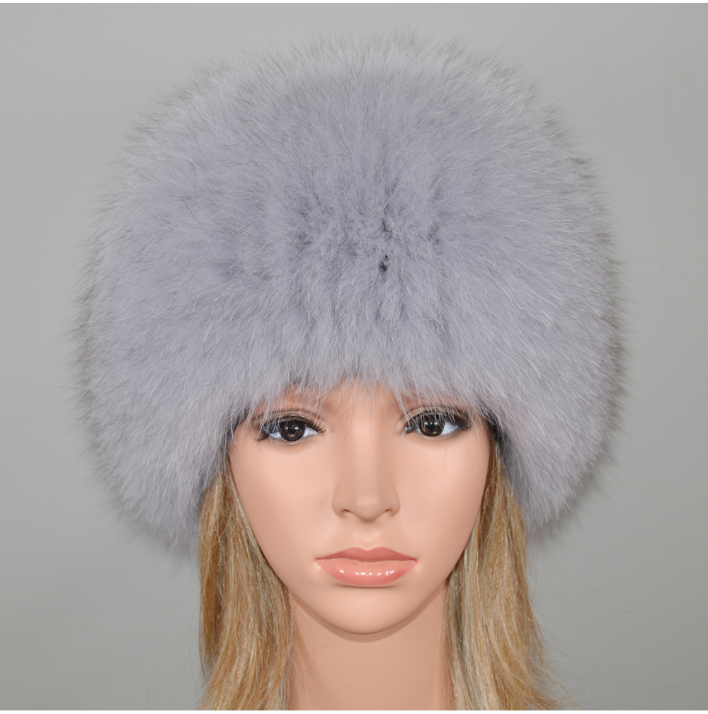 H39fe201bc2244e56b4a1f2d8642450b49 - New Luxury 100% Natural Real Fox Fur Hat Women Winter Knitted Real Fox Fur Bomber Cap Girls Warm Soft Fox Fur Beanies Hats
